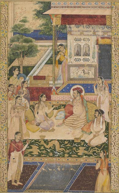 Nur Jahan entertaining Jjahangir and Prince Khurram. Over time, the king increasingly began to rely on her and she would often sit behind the Emperor during court.  (Public domain)