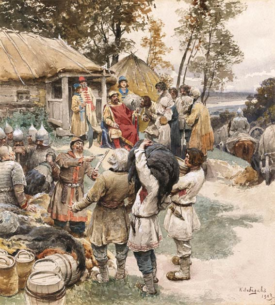 Igor of Kiev taking tribute from the Slavic tribe of the Drevlians. (Public domain)