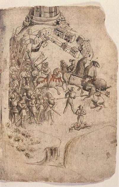 A depiction of the Battle of Bannockburn from a 1440s manuscript of Walter Bower's 'Scotichronicon.' This is the earliest known depiction of the battle. (Public Domain)
