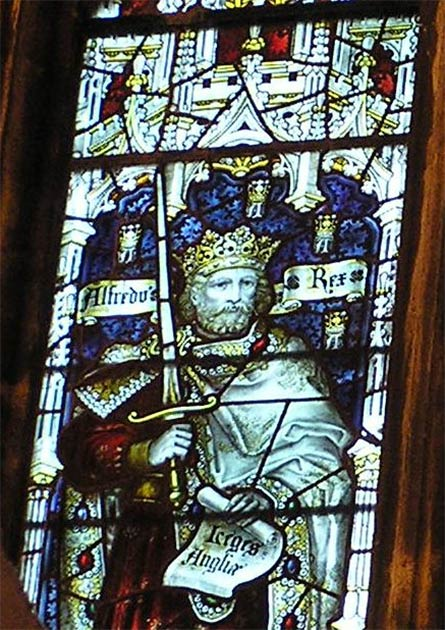 King Alfred The Great of the Kingdom of Wessex on a stained-glass window of the Bristol Cathedral. (Charles Eamer Kempe / CC BY 3.0)