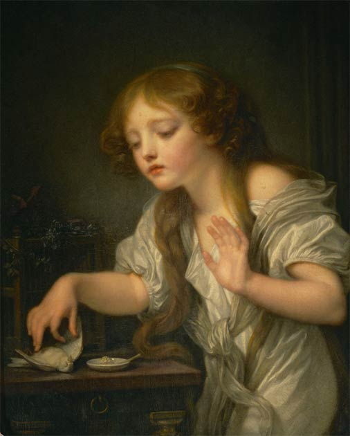 Girl weeping for her dead bird, a 1759 painting by Jean-Baptiste Greuze (Public domain)