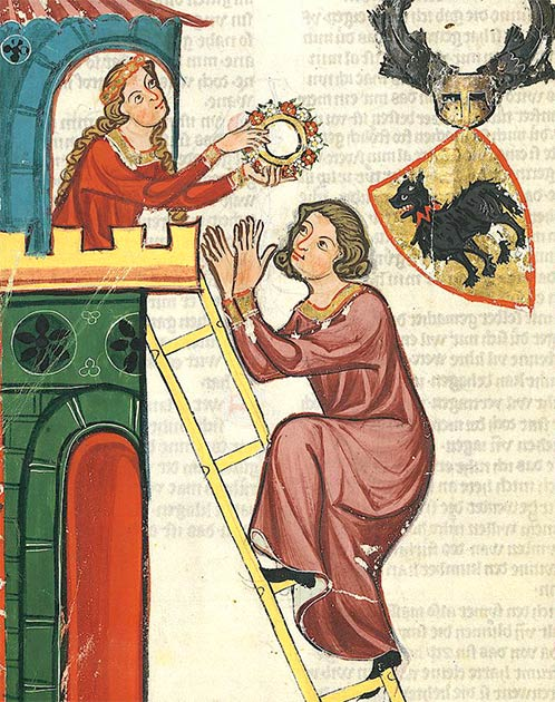 Depiction of count Kraft II of Toggenburg, climbing a tower to visit his lady, from the Codex Manesse. (Public domain)