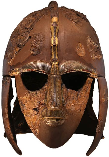 Dubbed the Sutton Hoo helmet, this helmet discovered in 1939 in England, has been compared to Vendel helmets and found to be similar. (Public domain)