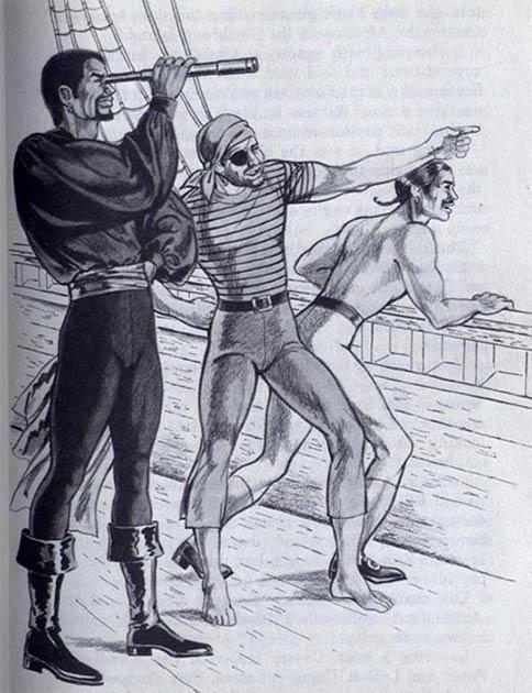 Black César et son ami, le marin, se tournent vers une vie de piraterie.  (Noah Scalin / CC BY-SA 2.0)