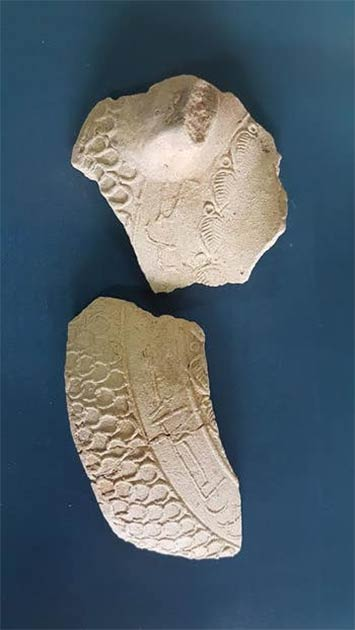 Arabic inscription on fragments of a jug that contained headache medicine. (Dr. Ayelet Dayan)