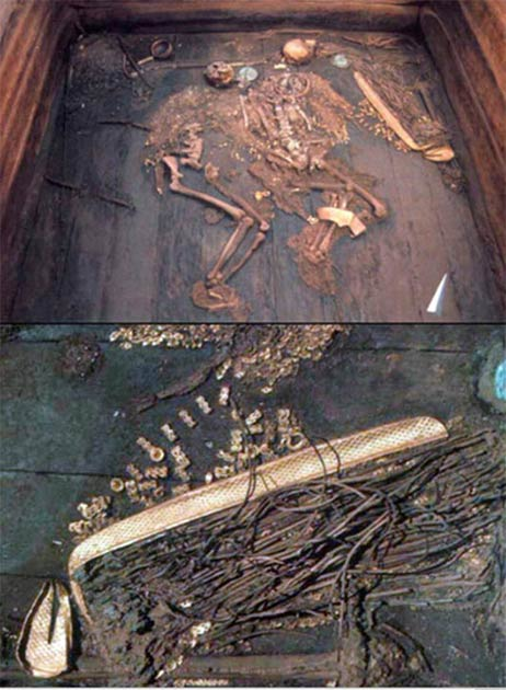 The Scythian Empire king and queen couple were literally found covered in gold. (Vera Salnitskaya / The Siberian Times)