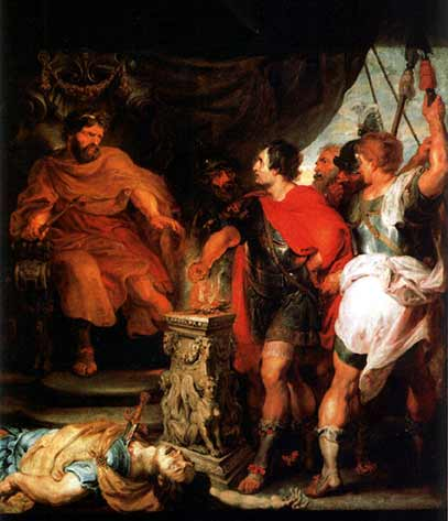 Lars Porsena watches as Gaius Mucius Scaevola puts his hand into fire, which fooled Porsena into striking a peace deal with Rome. (Peter Paul Rubens / Public domain)
