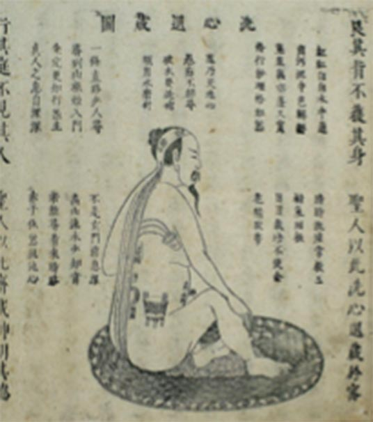 "Chinese woodblock illustration of Neidan ""Cleansing the heart-mind and retiring into concealment"", 1615 Xingming guizhi 性命圭旨 (Pointers on Spiritual Nature and Bodily Life). (Wellcome Images / CC BY 4.0)"