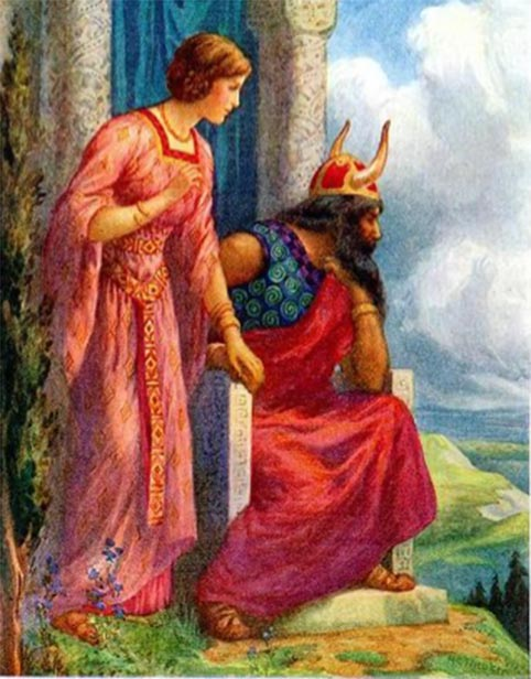 Frigga, Odin's wife shown by his side. (Csemerick / Public Domain)