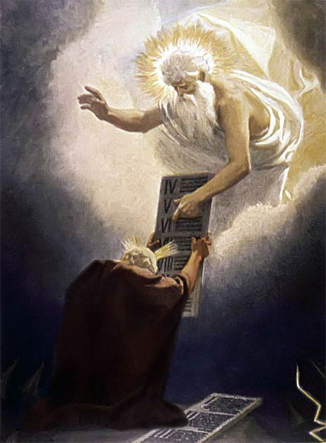 Moses Receiving the Tablets. In it we see the themes of the solarization of God and also the sun rays emanating from Moses' own head – oddly identical themes as at Amarna. (Gebhard Fugel / Public domain)
