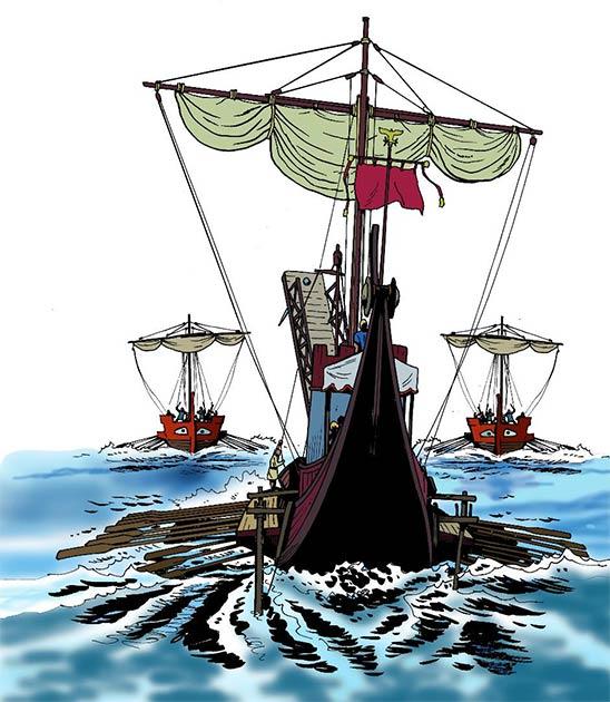 Roman warships on the attack. (Massimo Todaro /Adobe Stock)