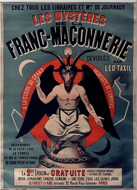 1896 spiritual fight -poster for anti-freemasonry book, promoting the Taxil Hoax. (Ancalagon / Public Domain)
