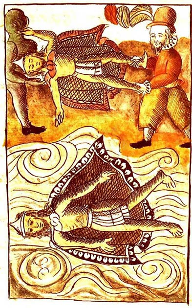 Spaniards disposing of the bodies of Moctezuma and Itzquauhtzin in the Florentine Codex. (Public Domain)