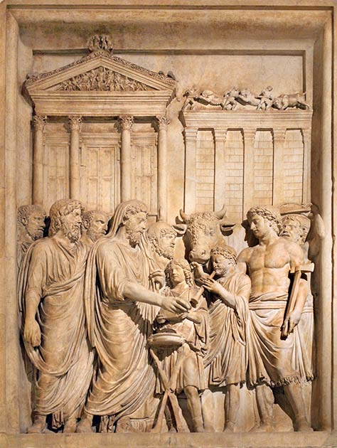 Bas relief showing Emperor Marcus Aurelius and his family offering sacrifice at the Temple of Jupiter on the Capitoline Hill. (MatthiasKabel / CC BY-SA 3.0)