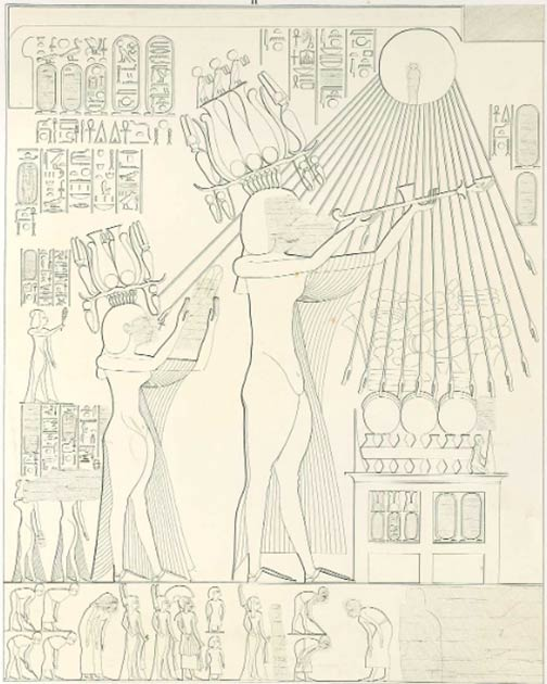 """Image of Akhenaten and Nefertiti making an offering to the Aten, taken from the tomb of Panehsy in Amarna. Akhenaten and Nefertiti both wear elaborate new plumed crowns featuring sun disks, protective cobras, and ram horns. These hemhem crowns, or """"Crowns of Shouting"""", were associated with the joyous rising sun and rebirth, and their ram's horns are reminiscent of modern Jewish shofar horns. (Lepsius / Public domain)"""