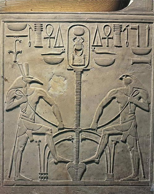 Seth and Horus uniting the two lands with a knot around a spine. Middle Kingdom, 12th Dynasty, ca. 1971-1926 BC. (Egyptian Museum, Cairo / Provided by the author)