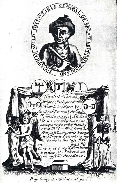 Gallows ticket for the hanging of Jonathan Wild. (Public Domain)