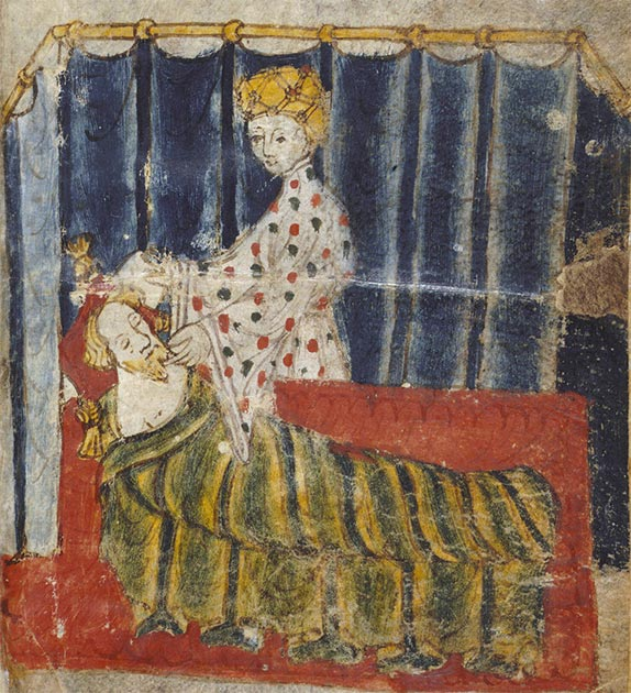 Lady Bertilak seducing Gawain's at his bed (from original manuscript). (Public domain)
