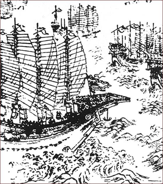 Woodblock print representing Zheng He's ships. (Public Domain)