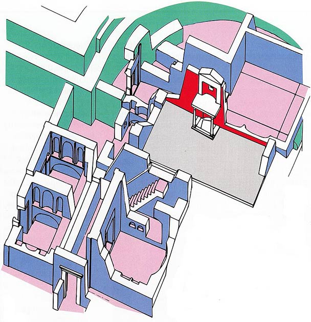 "A reconstruction of the area around the ""tomb"" of the apostle Peter in St. Peter's Basilica:  The ""Trophy of Gaius"" and the Red Wall (red); Pre-Constantinian tombs (blue); Field P (grey); the apse of the old basilica (green). (Mogadir / CC BY 3.0)"