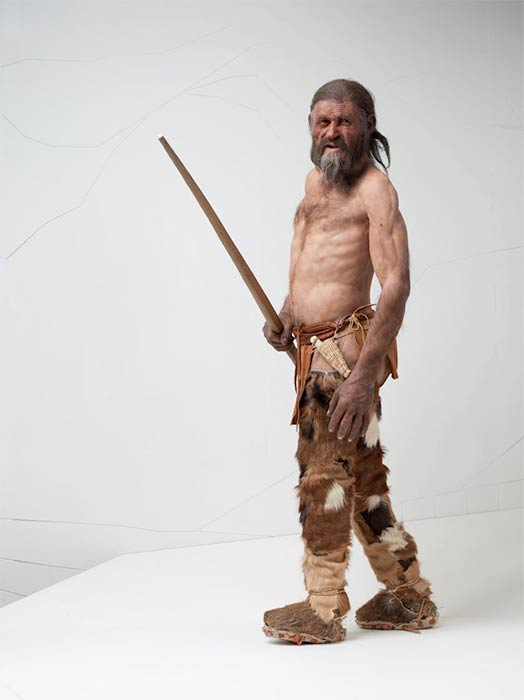 Reconstruction of the Tyrolean Iceman's by Alfons & Adrie Kennis. (South Tyrol Museum of Archaeology/Ochsenreiter)