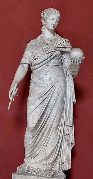 "A 4th-century AD Roman (copied from Greek originals) marble statue of Urania the North-African muse of astronomy that Elagabalus ""married"" to another deity, which caused great outrage in Rome. (Vatican Museums / Public domain)"