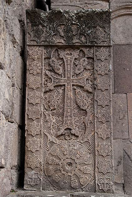 A khachkar, is an Armenian cross-stone characteristic of medieval Christian Armenian art. (Inna / CC BY)