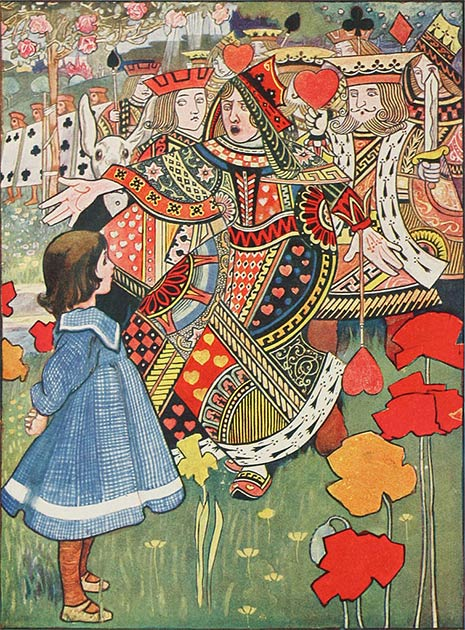 The Queen of Hearts, said to be Mrs. Liddell, Alice's mother in real life. (Charles Robinson / Public domain)