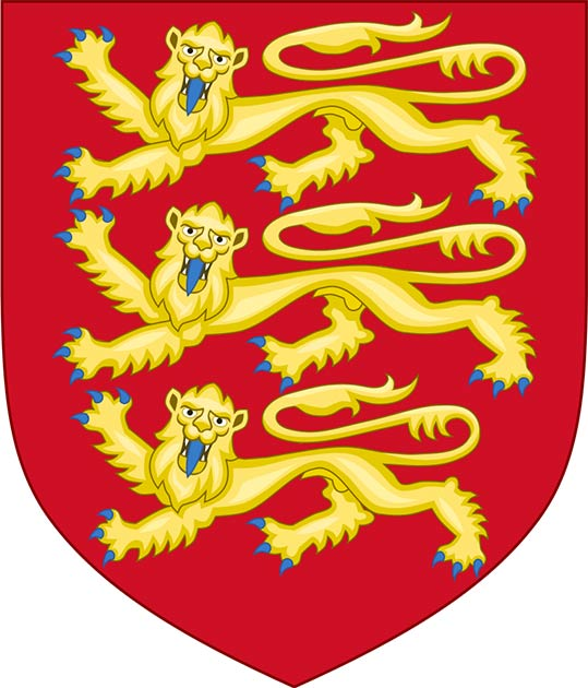 Illustration of the Plantagenet coat of arms, three gold lions on a red background. (See page for author / CC BY-SA 4.0)