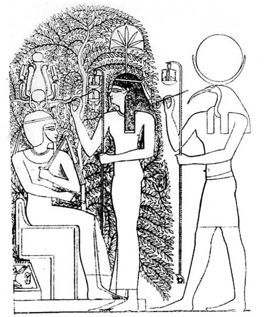 The name of the new Pharaoh is written on the leaves of the sacred Ished tree of Heliopolis by the gods Seshat and Thoth during the coronation. From the Ramasseum, mortuary temple of Ramses II. (Public domain)