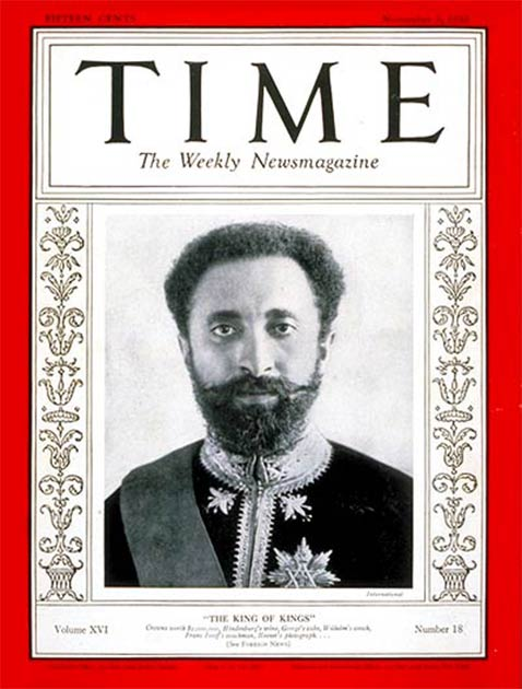 The cover of Time Magazine, from November 3, 1930, features Haile Selassie I, the last emperor of Ethiopia.