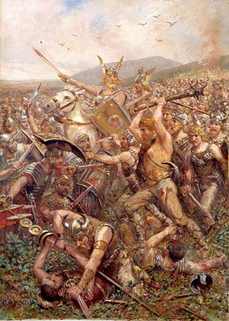 """Guerreros germánicos asaltan el campo, """"Varusschlacht"""", 1909. (Dominio público)"""