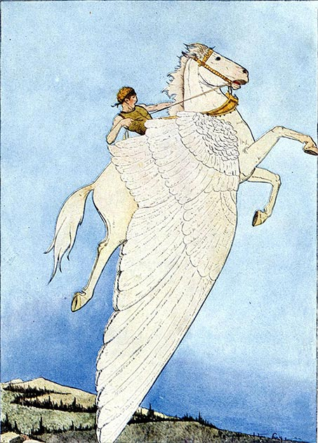 Depiction of Bellerophon riding Pegasus. (Mary Hamilton Frye / Public domain)