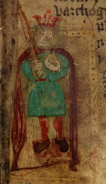 "A crude illustration of  Aurelius Ambrosius from a 15th century Welsh language version of Geoffrey of Monmouth's ""Historia Regum Britanniae"". (Geoffrey of Monmouth / CC0)"