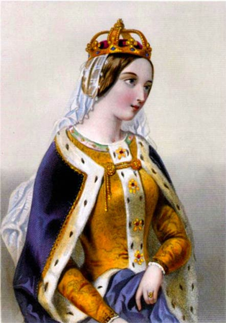 "Engraving of Catherine of Valois published in the 1875 book ""The Queens of England or Royal Book of Beauty"" edited by Mary Howitt. (Public domain)"