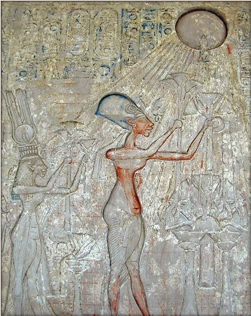 The sun was central to the religious beliefs of Pharaoh Akhenaten, who dramatically changed every element of life in his country in the pursuit of his self-proclaimed monotheistic deity, the Aten sun disk. Could Akhenaten's entire religious agenda of worshipping light have been a product of a solar eclipse? (Public domain)