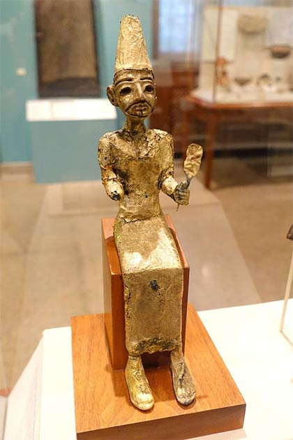 El, the Canaanite creator deity, Megiddo, Stratum VII, Late Bronze II, 1400-1200 BC, bronze with gold leaf - Oriental Institute Museum, University of Chicago. (CC0)