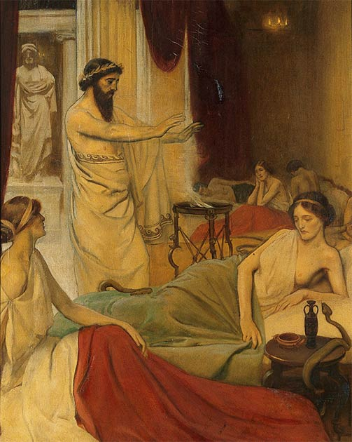 Patients sleeping in the temple of Aesculapius at Epidaurus, Ernest Board. (Wellcome Collection / CC BY 4.0)