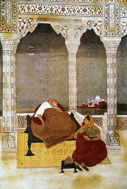 The passing of Shah Jahan with Jahanara by his side. (Public domain)