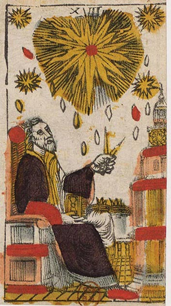 This unusual 'The Star' Tarot card (JacquesViéville, c. 1650) shows how the pair of compasses is used by the wise man to incorporate drops of heavenly wisdom into the tower, symbolic probably for a person as well as for a building. (Author provided)