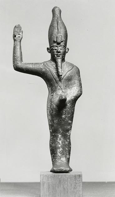 The representation of the mummiform Amun-Min-Kamutef with an erect phallus alludes to his role as a fertility god. His right arm is raised in a gesture of rejoicing, 7th century BC. (Walters Art Museum / Public domain)
