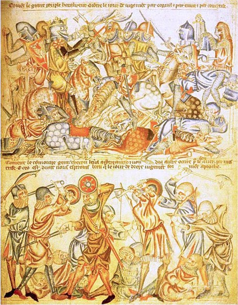 An early 14th-century English depiction of a biblical battle, giving an impression of how soldiers were equipped at Bannockburn. The image of a king wielding a battle axe in the top half has led some historians to link this image to Bannockburn. From Folio 40 of the Holkham Bible in the British Library. (Public Domain)