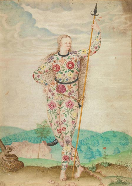 """A Young Daughter of a Pict"" attributed to Jacques Le Moyne de Morgues from the 1580s. (Public Domain)"