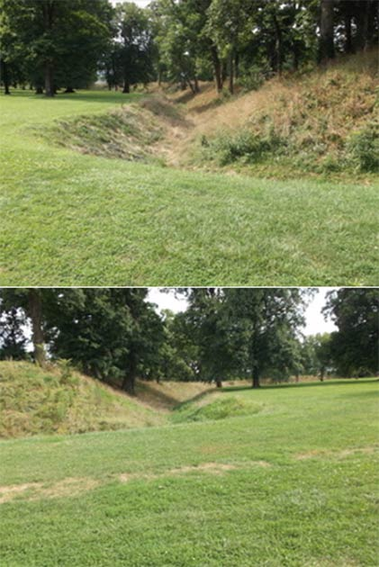 The walls and interior ditches at the entrance to the Great Circle at Newark. (Author Provided)