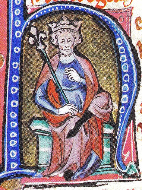 Cnut the Great, Sweyn's son, illustrated within the initial of a medieval manuscript (Public Domain)
