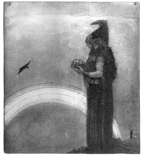 Odin speaks with Mimir's head for the last time. (John Bauer)