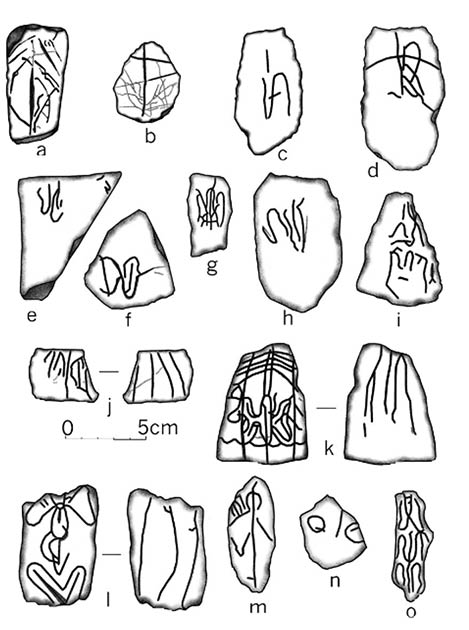 Drawing of some of the portable rock art found at Boca de Potrerillos. (Herbert H. Eling)
