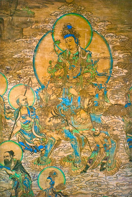 Painting of Manjusri the bodhisattva of wisdom, found in Yulin Caves of Gansu from the Xia dynasty. (Maculosae tegmine lyncis / Public Domain)