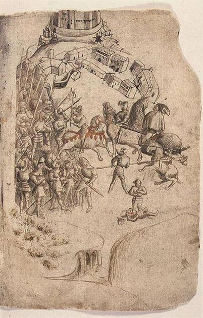 A depiction of the Battle of Bannockburn from a 1440s manuscript of Walter Bower's Scotichronicon. This is the earliest known depiction of the battle. (Public Domain)