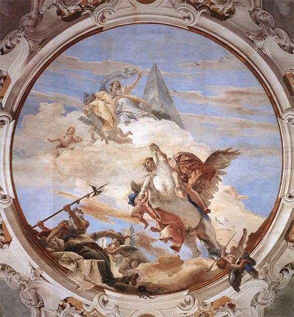 Bellerophon trying to reach the heavens by riding Pegasus. (Giovanni Battista Tiepolo / Public domain)